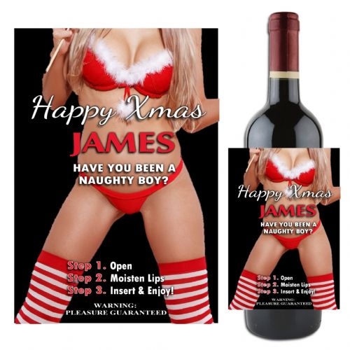 Personalised Happy Christmas Joke Novelty Wine Bottle Label N103 Naughty Secret Santa Stocking Gift